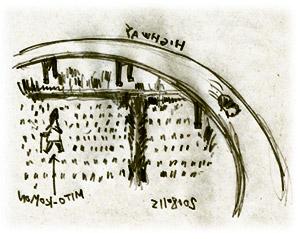 冬の田圃を行く水戸黄門
